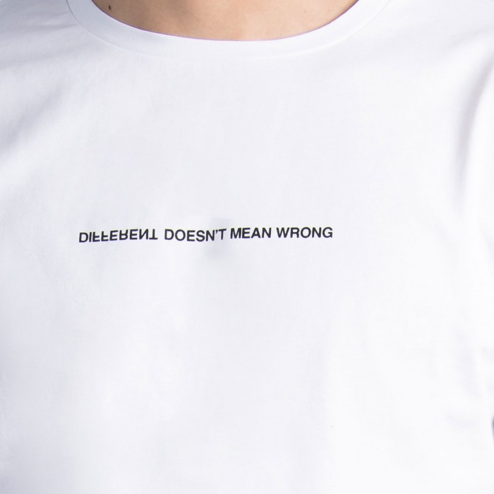 """Different Doesn't Mean Wrong"" T-Shirt in White Cotton"