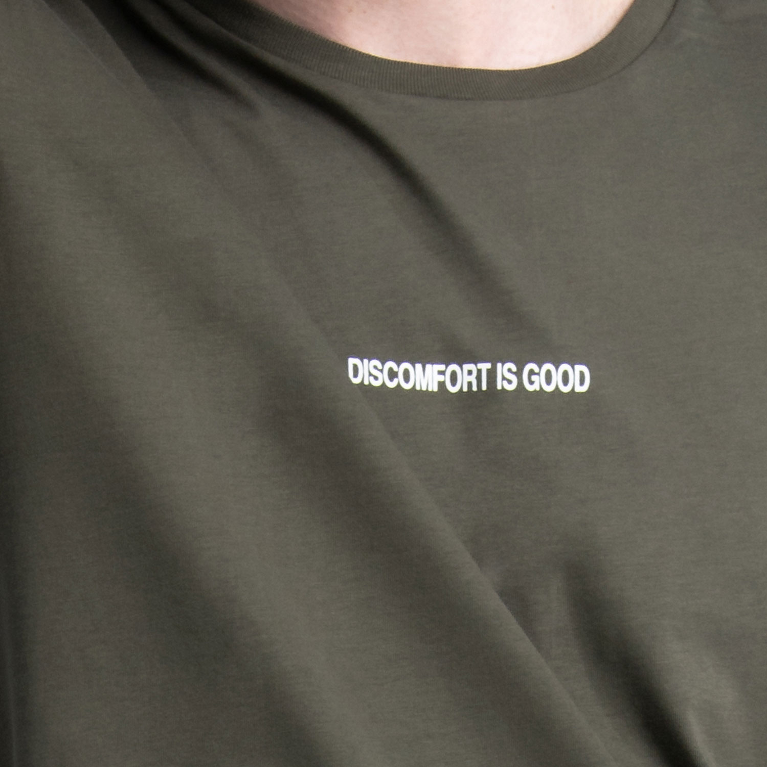 """Discomfort Is Good"" T-Shirt in Khaki Cotton"