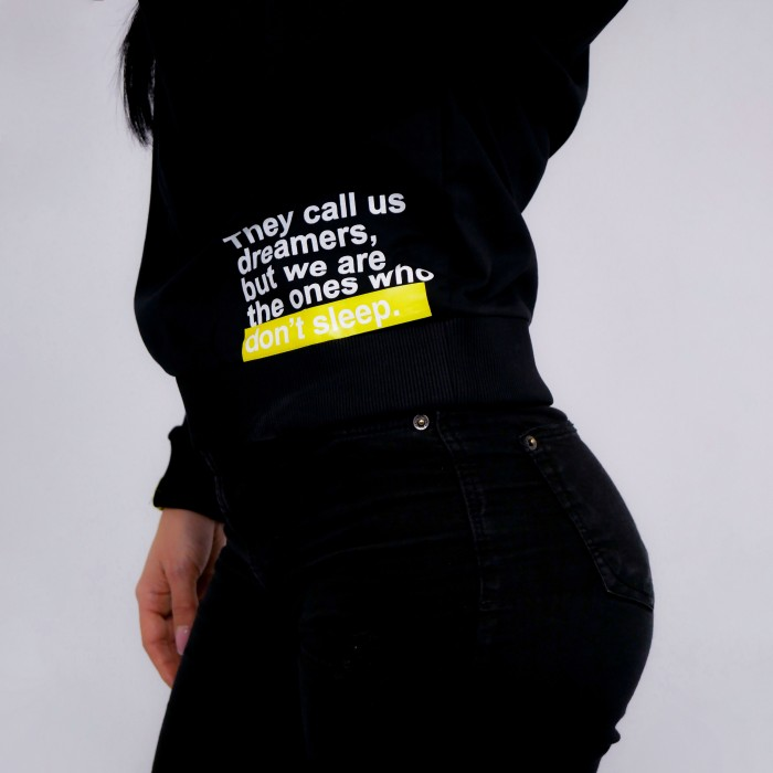 """They Call Us Dreamers"" Sweatshirt in Black Cotton"