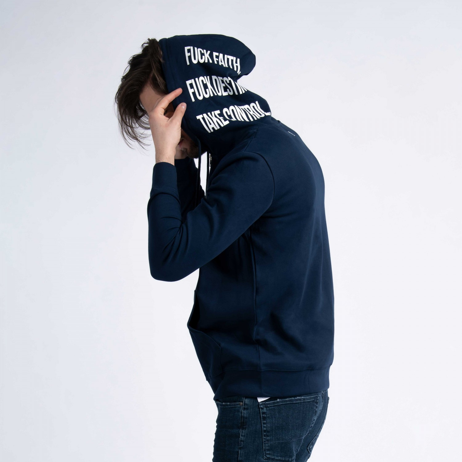 """Take Control"" Zip Up Hoodie  In Navy Cotton"