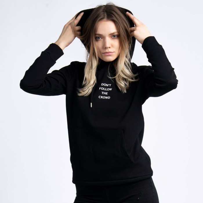 """Don't Follow The Crowd"" Hoodie In Black Cotton"