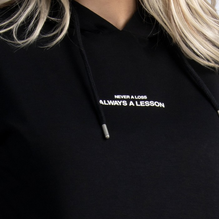 """Never a Loss, Always a Lesson"" Hoodie In Black Cotton"