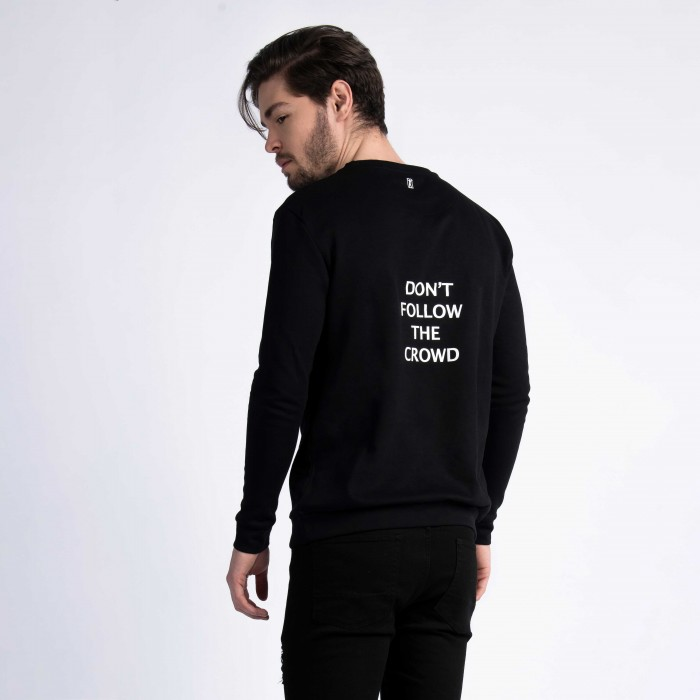 """Don't Follow The Crowd"" Sweatshirt In Black Cotton"