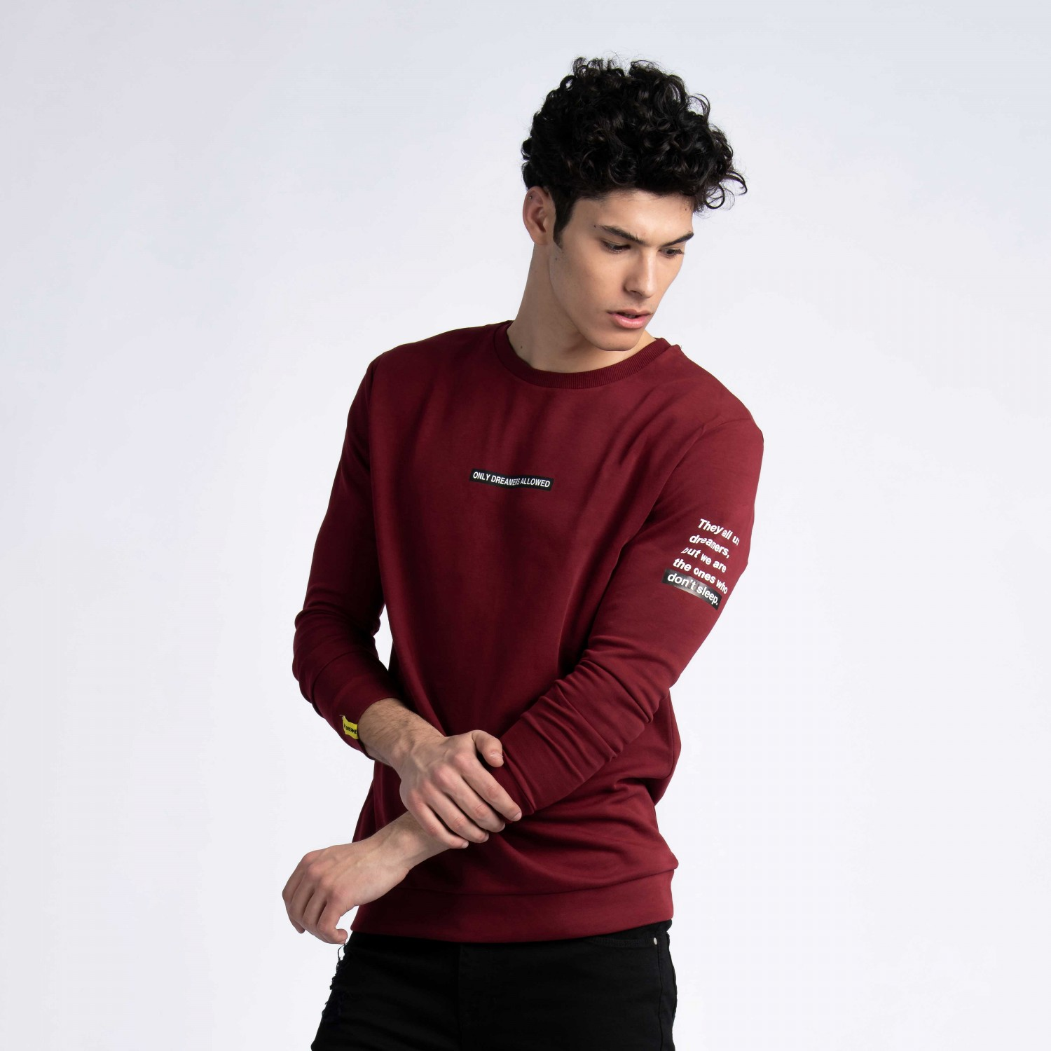 """They Call Us Dreamers"" Sweatshirt In Burgundy Cotton"