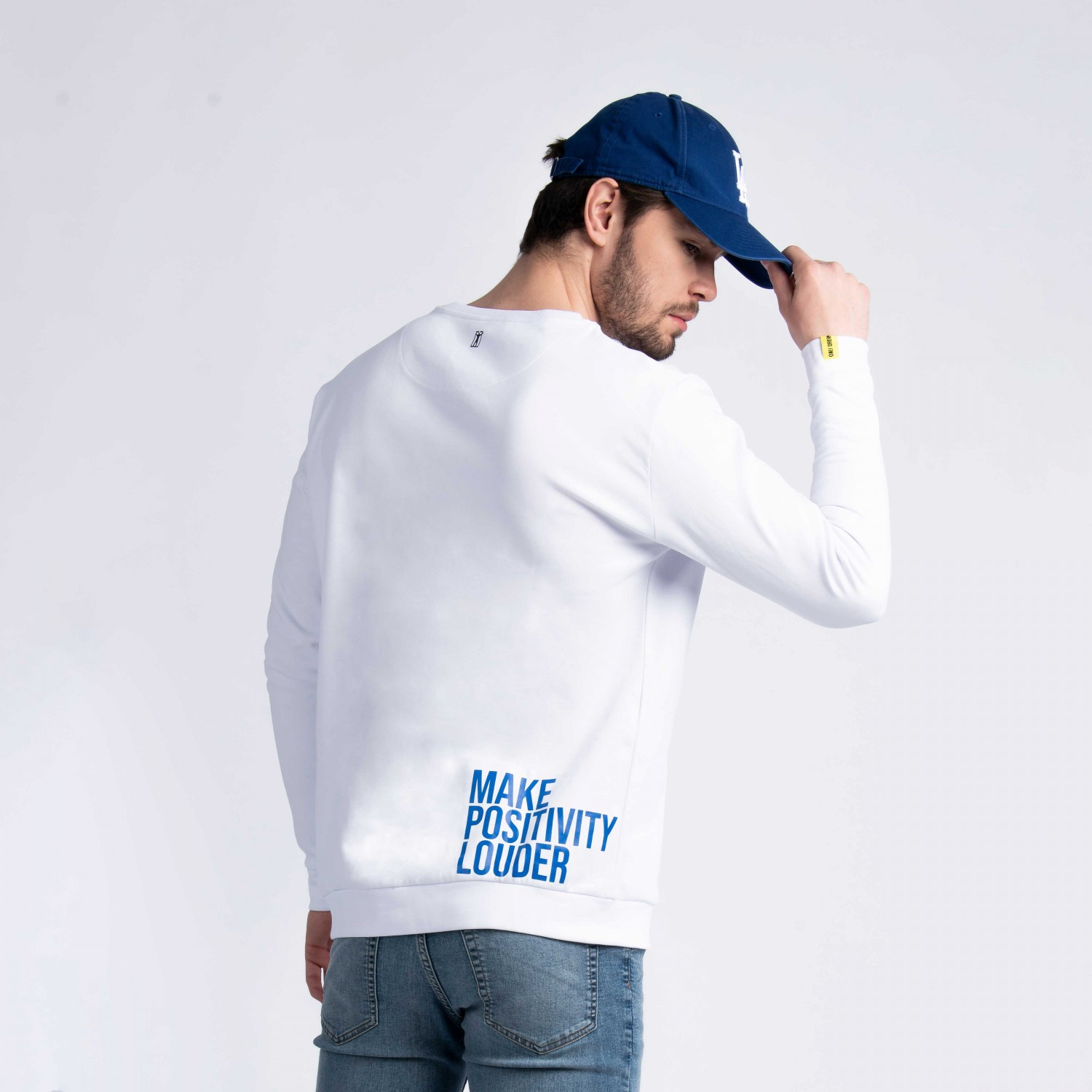 """Make Positivity Louder"" Sweatshirt In White Cotton"