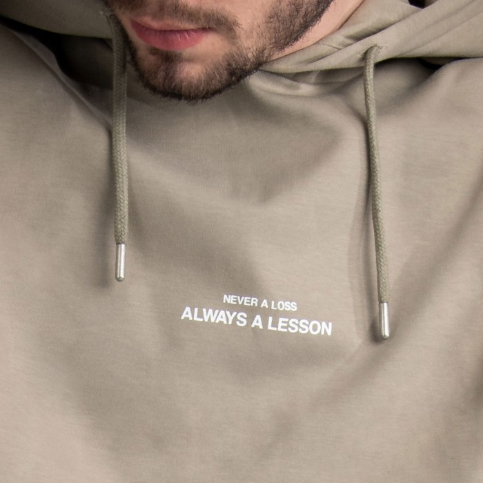 """Never A Loss, Always A Lesson"" Hoodie In Beige Cotton"