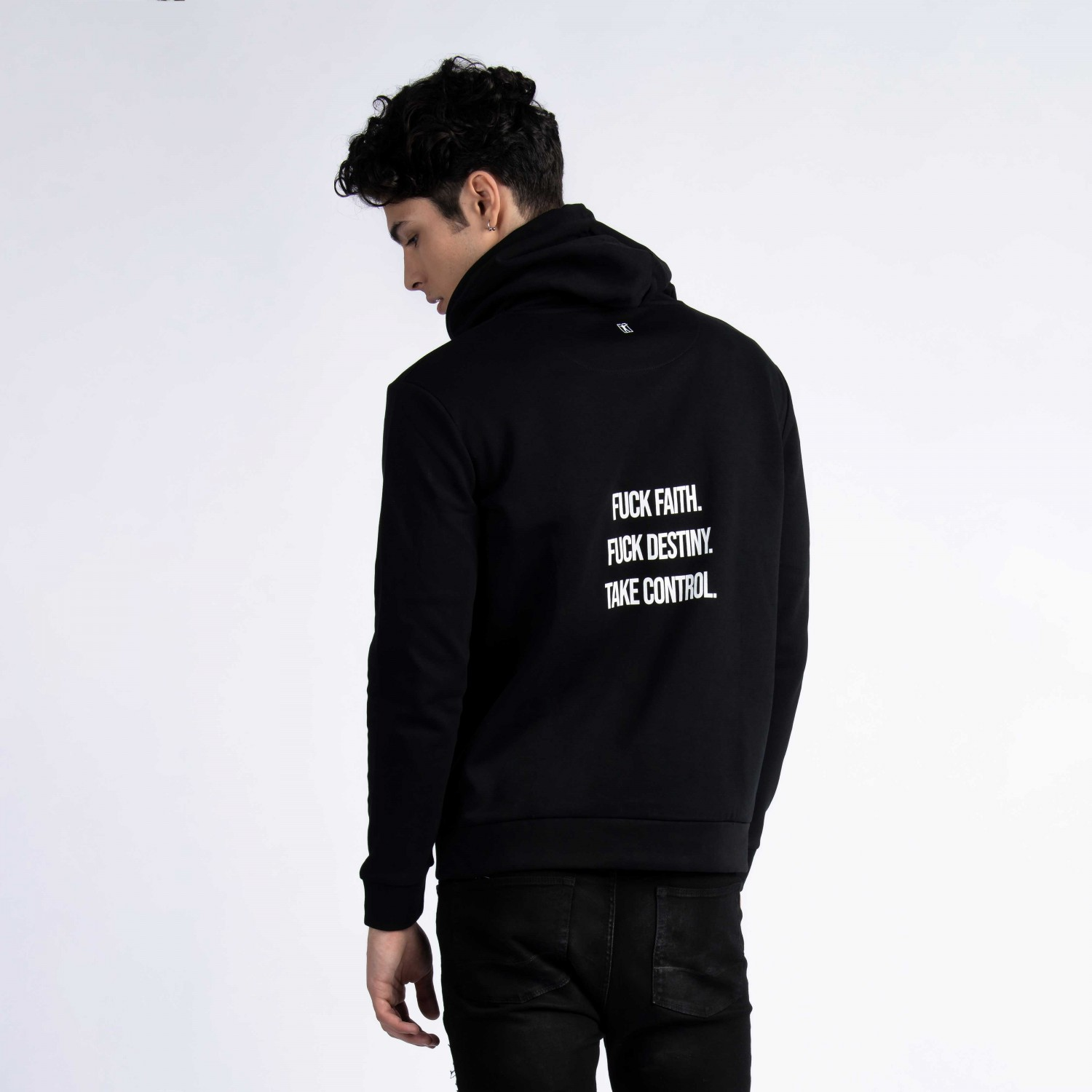 """Take Control"" Hoodie In Black Cotton"