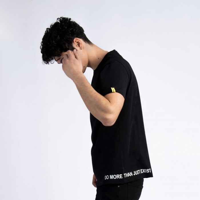 """Do More Than Just Exist"" T-Shirt in Black Cotton"