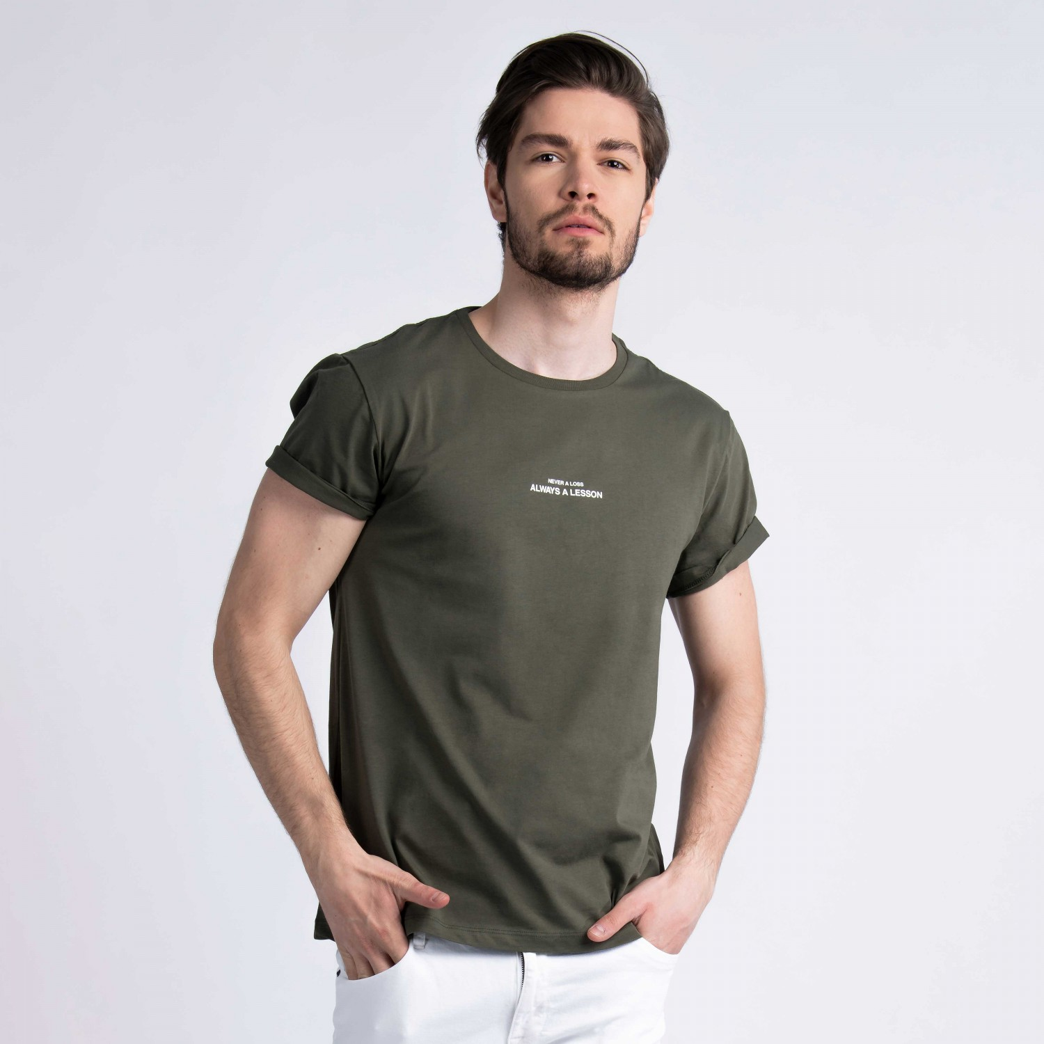 """Never A Loss, Always A Lesson"" T-Shirt in Khaki Cotton"
