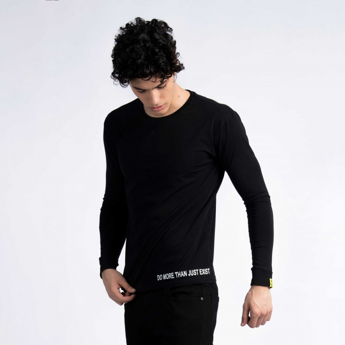 """Do More Than Just Exist"" Long Sleeve T-Shirt in Black"