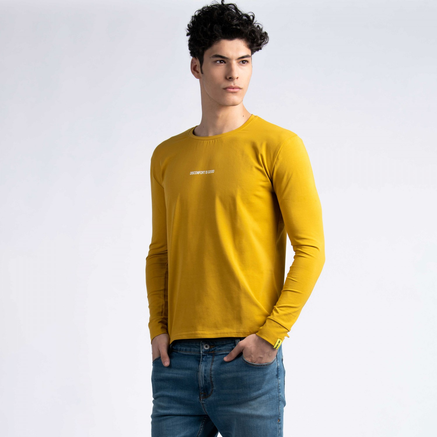 """Discomfort Is Good"" Long Sleeve T-Shirt in Mustard"