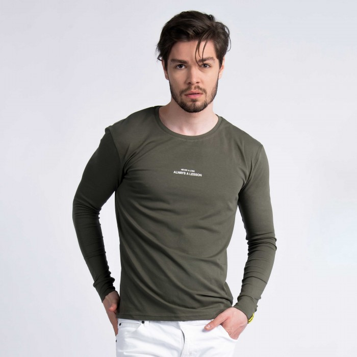 """Never a Loss, Always a Lesson"" Long Sleeve T-Shirt in Khaki"