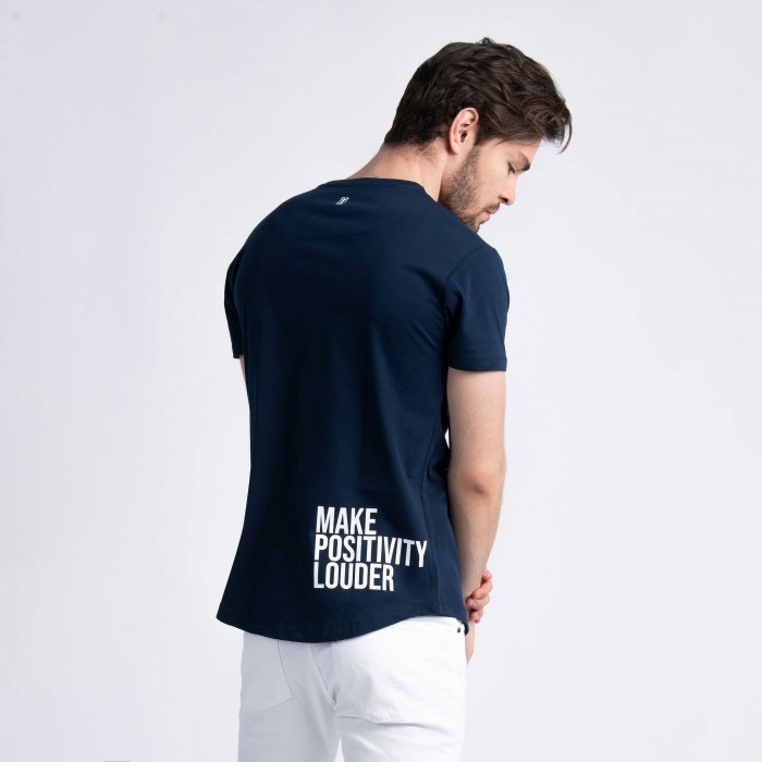 """Make Positivity Louder"" Curved Hem T-Shirt in Navy"