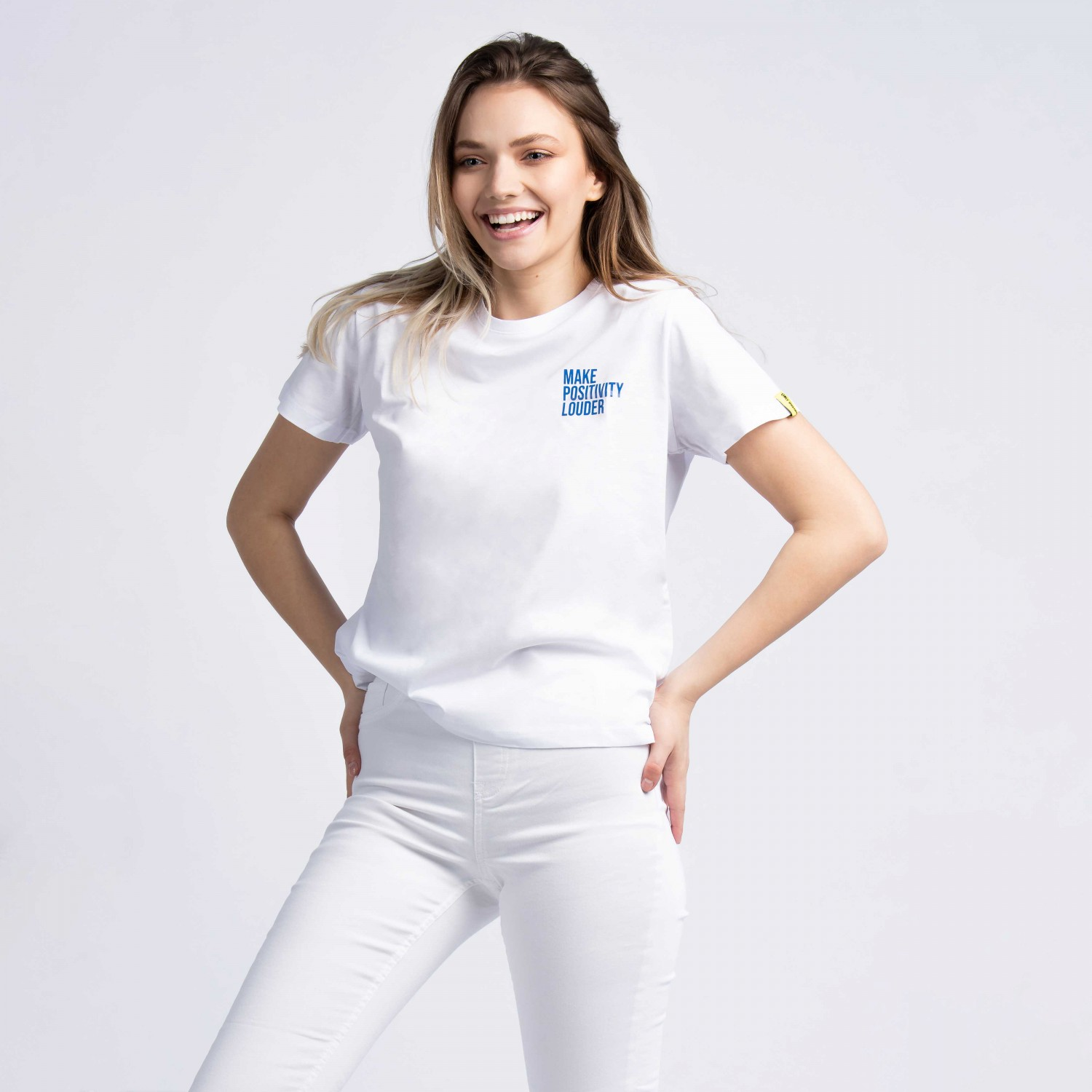 """Make Positivity Louder"" T-Shirt In White"