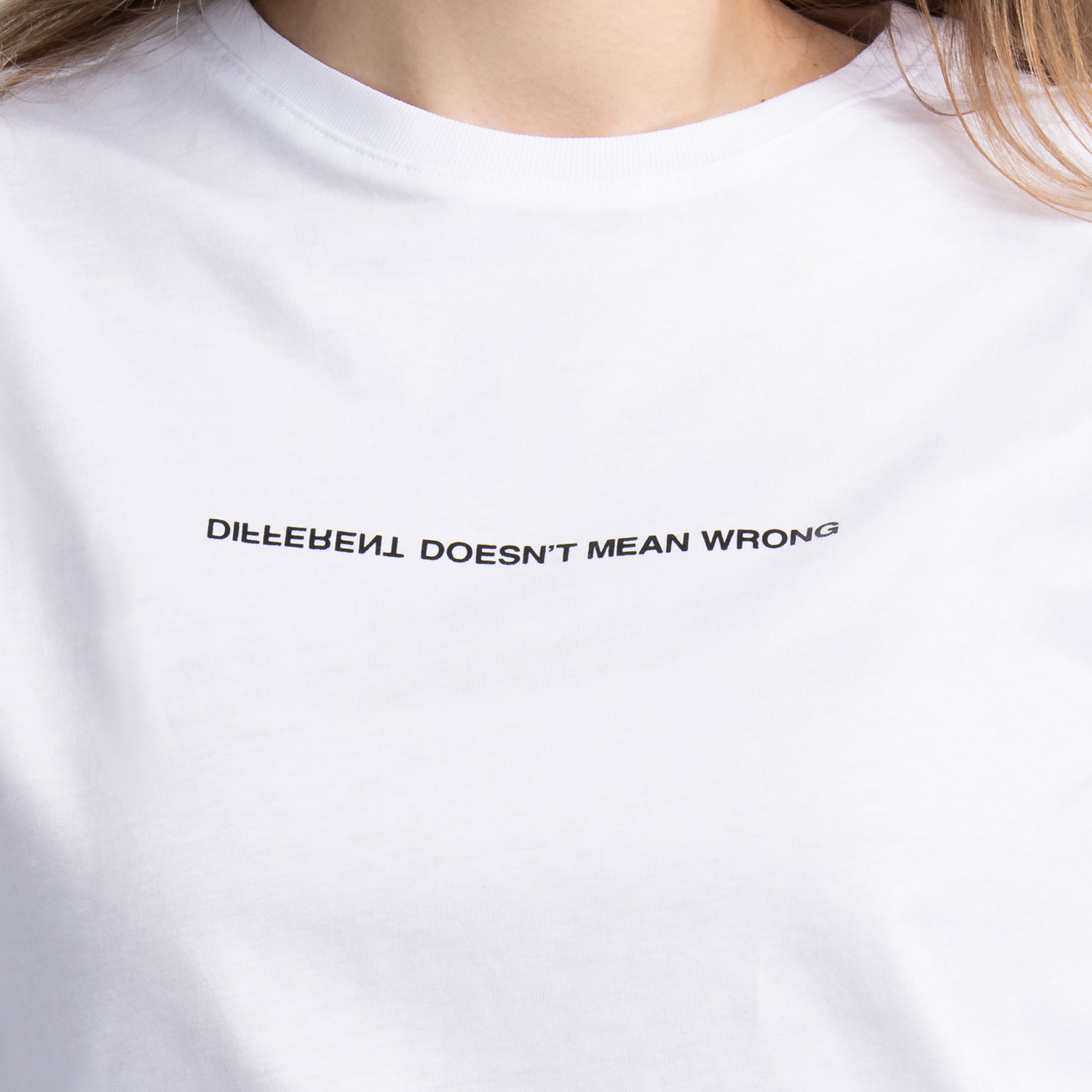 """Different Doesn't Mean Wrong"" T-Shirt In White"