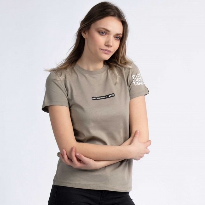 """F*ck Faith, F*ck Destiny, Take Control"" T-Shirt In Beige"